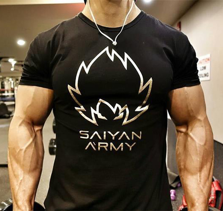Anime dragon ball super saiyan son goku vegeta t shirts for men fitness bodybuilding t-shirt crossfit workout tshirt clothes