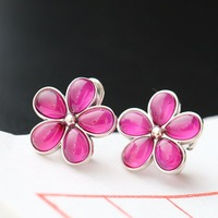 925 sterling silver ear clip Manually set the red corundum Thai silver earrings
