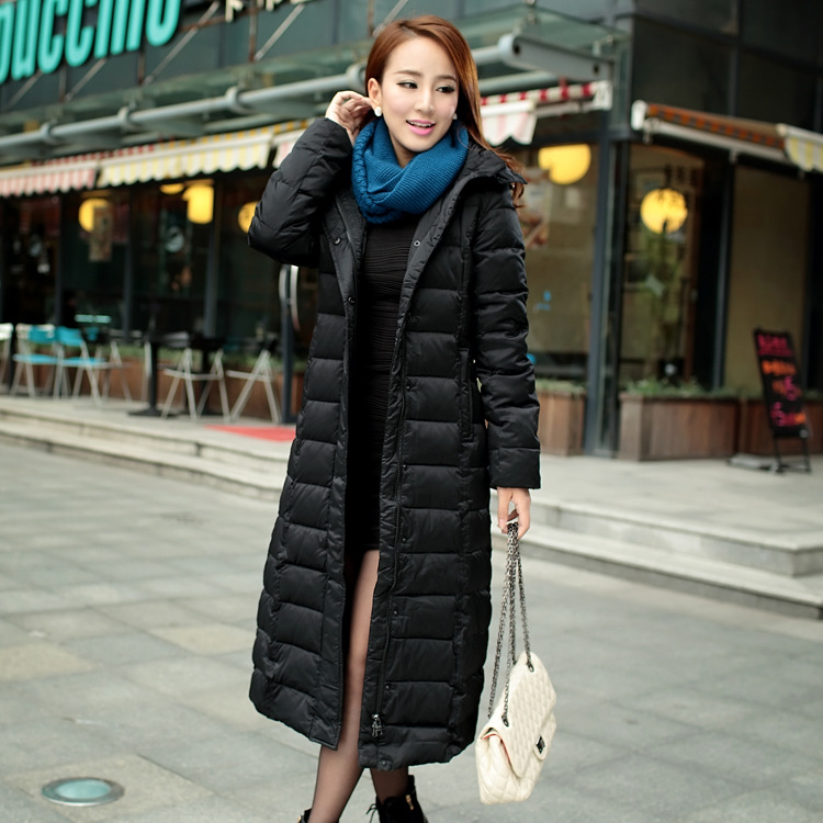 X-long 112 - 120 CM winter   down     coat   outerwear women hooded thickening warm 90% white duck   down   overcoat 2016 fashion plus size