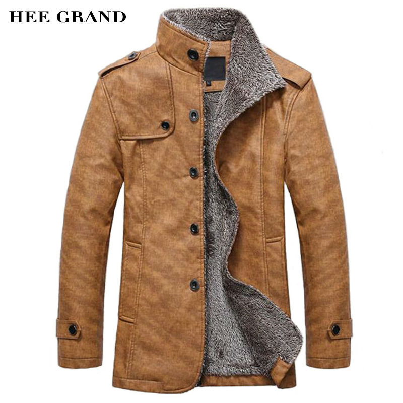 HEE GRAND Men s PU Leather Jackets Coats New Arrival Winter Thick Casual Jaqueta Masculino M