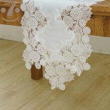 Comedor banquete mesa de centro decorativa bordado blanco elegante estilo Vintage camino de mesa para decoración de eventos de fiesta de boda