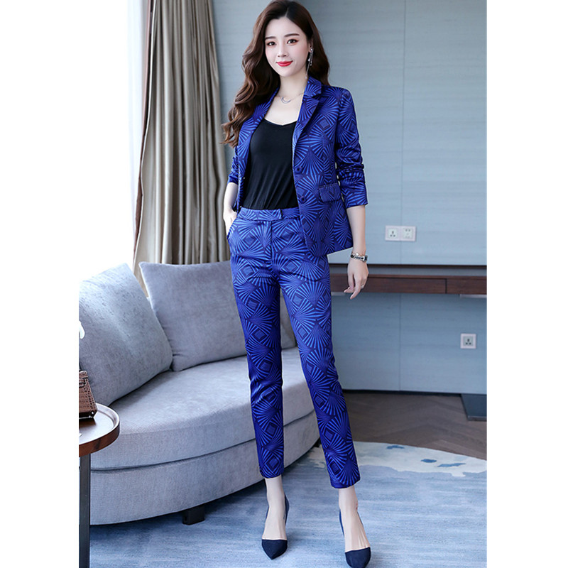 Women's Suit Spring And Autumn New Women's Printed Slim Suit Two-piece Suit (jacket + Pants) Women's Business Casual Suit