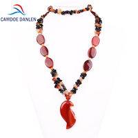 Three Design Natural Stone Sardonyx Trendy Sweater Pendant Carnelian Ethnic Necklace Long Rope Chain Fashion