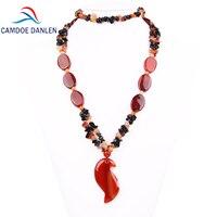 Three Design Natural Stone Sardonyx Trendy Sweater Pendant Carnelian Ethnic Necklace Long Rope Chain Fashion