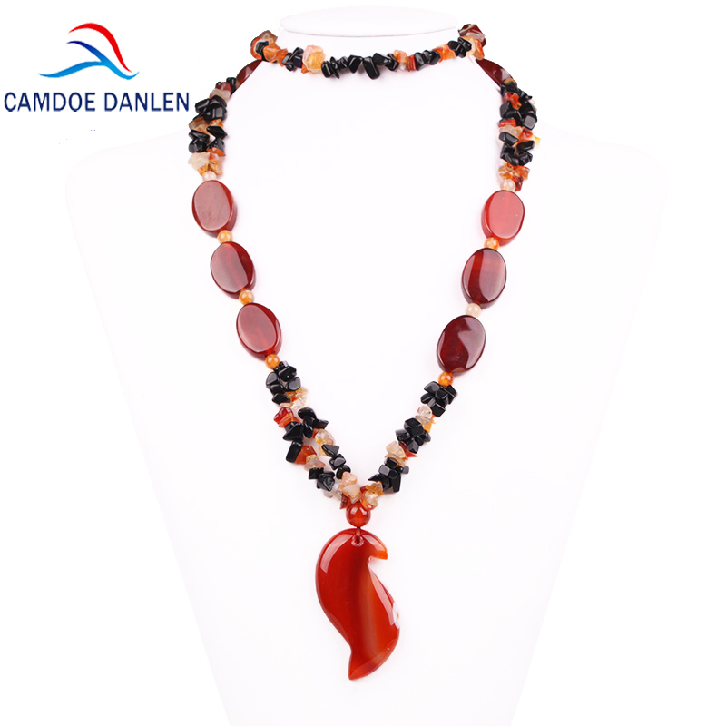Three Design Natural Stone Sardonyx Trendy Sweater Pendant Carnelian Ethnic Necklace Long Rope Chain Fashion Women Jewelry trendy copper tube sweater chain for women