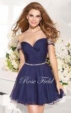 Dressgirl Marineblau Cocktailkleider 2017 A-line Kappen-hülsen Chiffon Perlen Durchsichtig Short Mini Homecoming Kleider