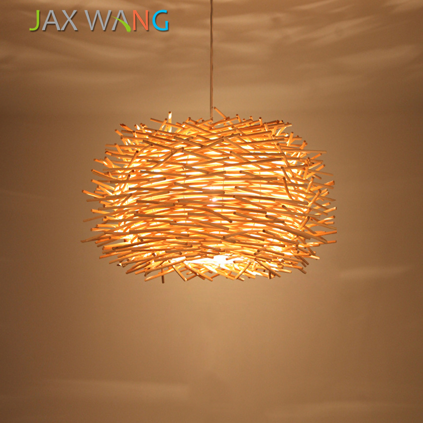 Japen Hand-woven Cany Art Lamp Wood Pendant Lamps E27 Novelty Nest Cage Pendant Lights Decorative for The Living Room Cafe LightJapen Hand-woven Cany Art Lamp Wood Pendant Lamps E27 Novelty Nest Cage Pendant Lights Decorative for The Living Room Cafe Light