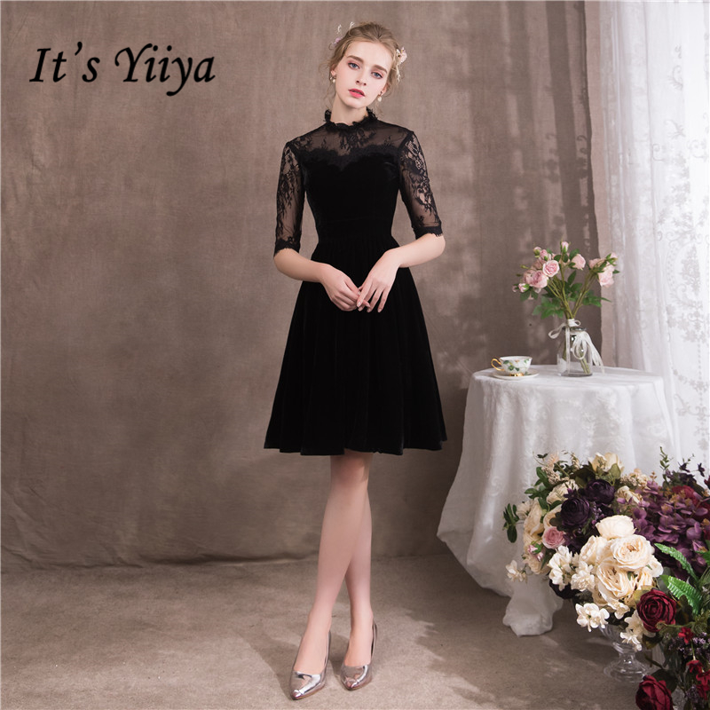 It's YiiYa 2018 Popular Blak   Cocktail     Dresses   Famous Designer Lace Sexy Illusion Simple Luxury Little Black   Dress   NX082