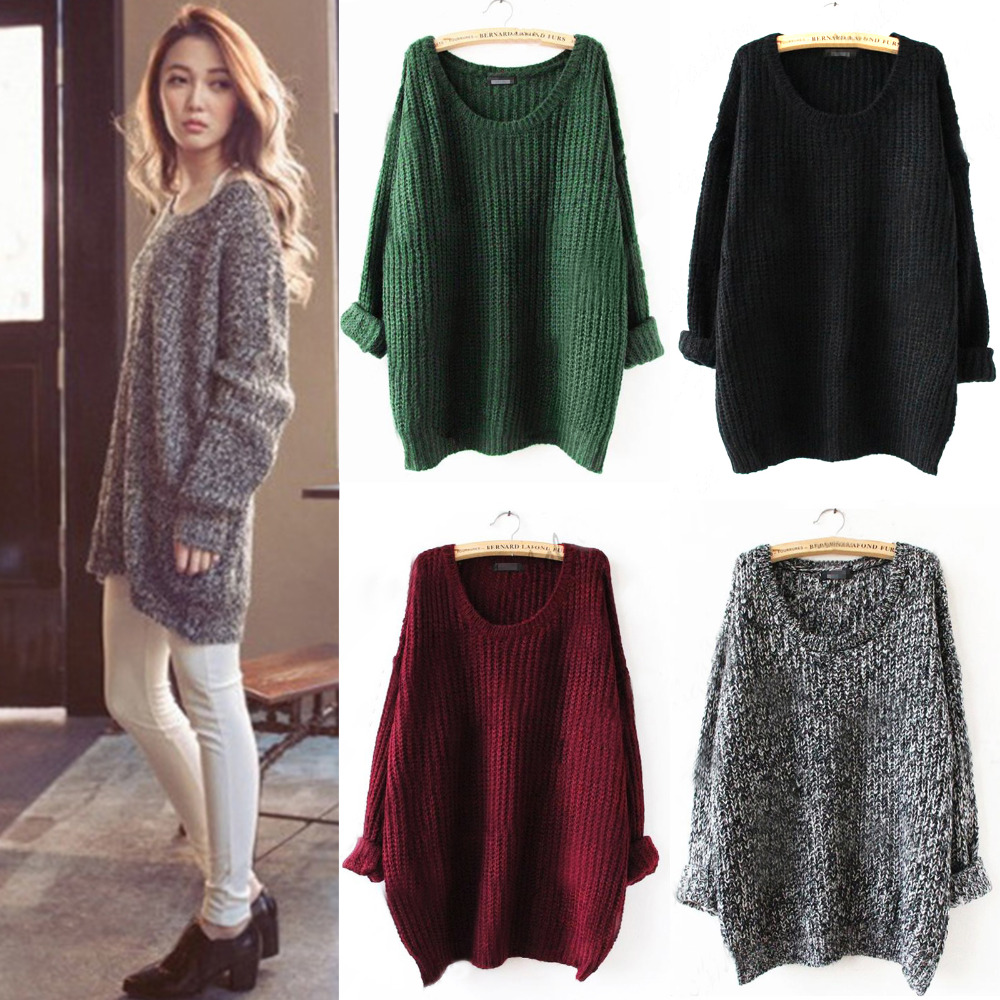 Elegant Women Oversized Knitted Sweater Batwing Sleeve Jumper Tops ...