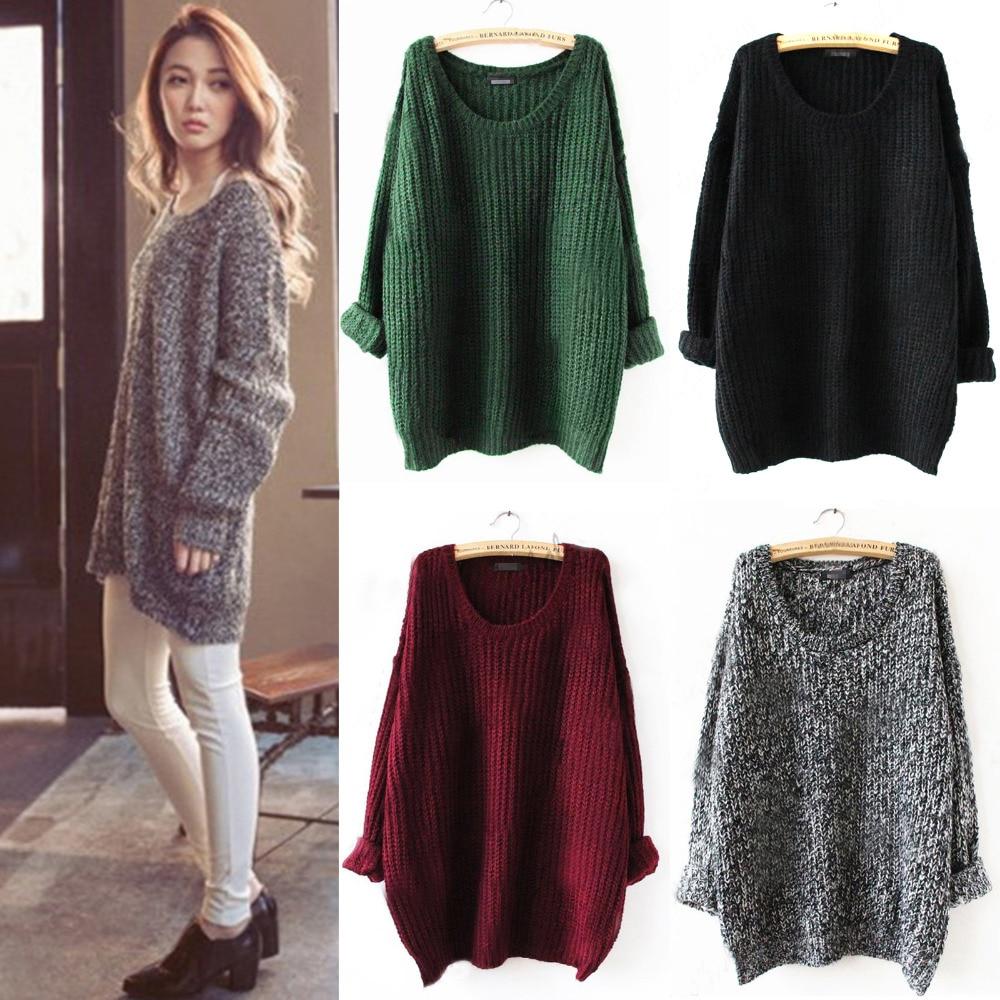 Elegant Women Oversized Knitted Sweater Batwing Sleeve Jumper Tops ...