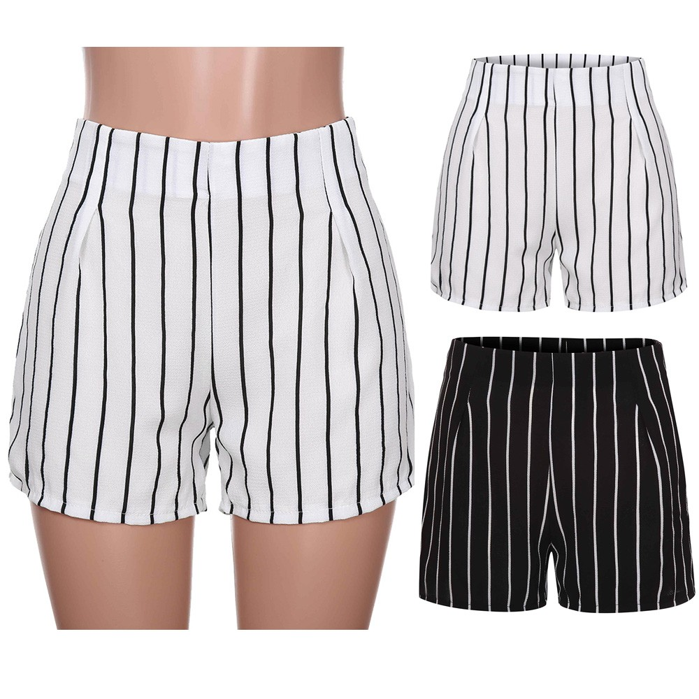 Korean Street Style Women Stripe Print Zipper Casual Hot Sweatpants Ladies Summer New Fashion   Shorts   Trousers For 2019