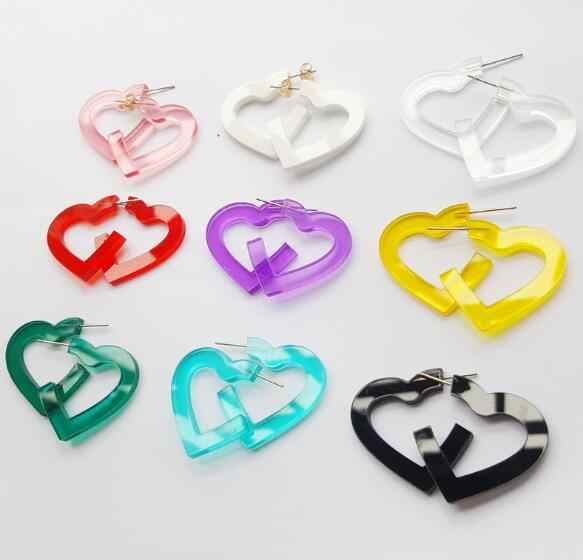 3MM Lovely Transparent Acrylic Heart Earrings for Women Girls Summer Beach Jewelry Nice Party Love Heart Dangle Earrings 7 Color