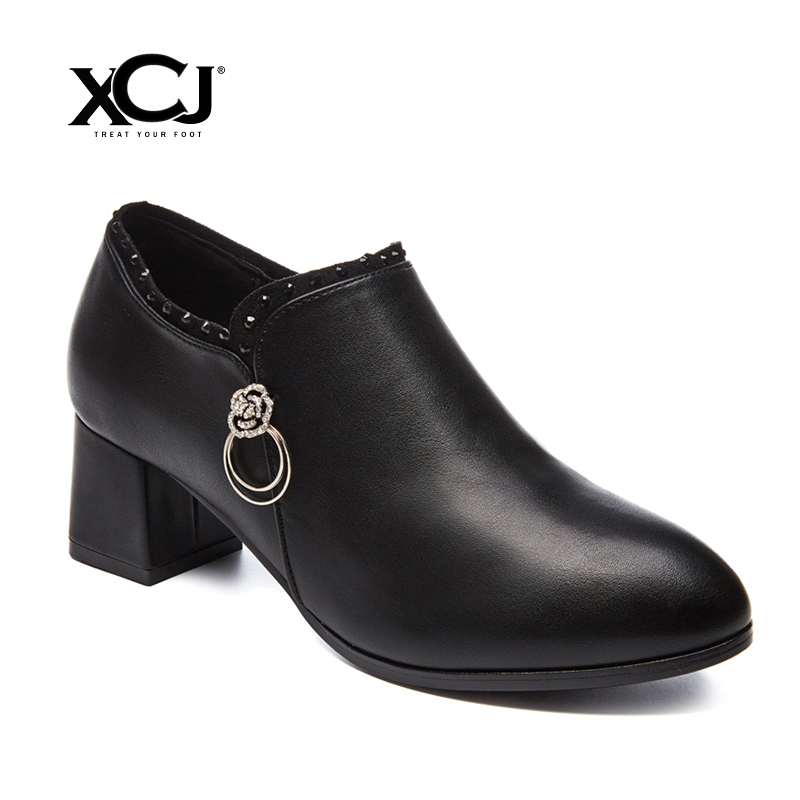 Women's Shoes Women Pump With Platform Med Heels Brand Women Dress Office Shoes Spring Autumn Split Leather Plus Big Size XCJ