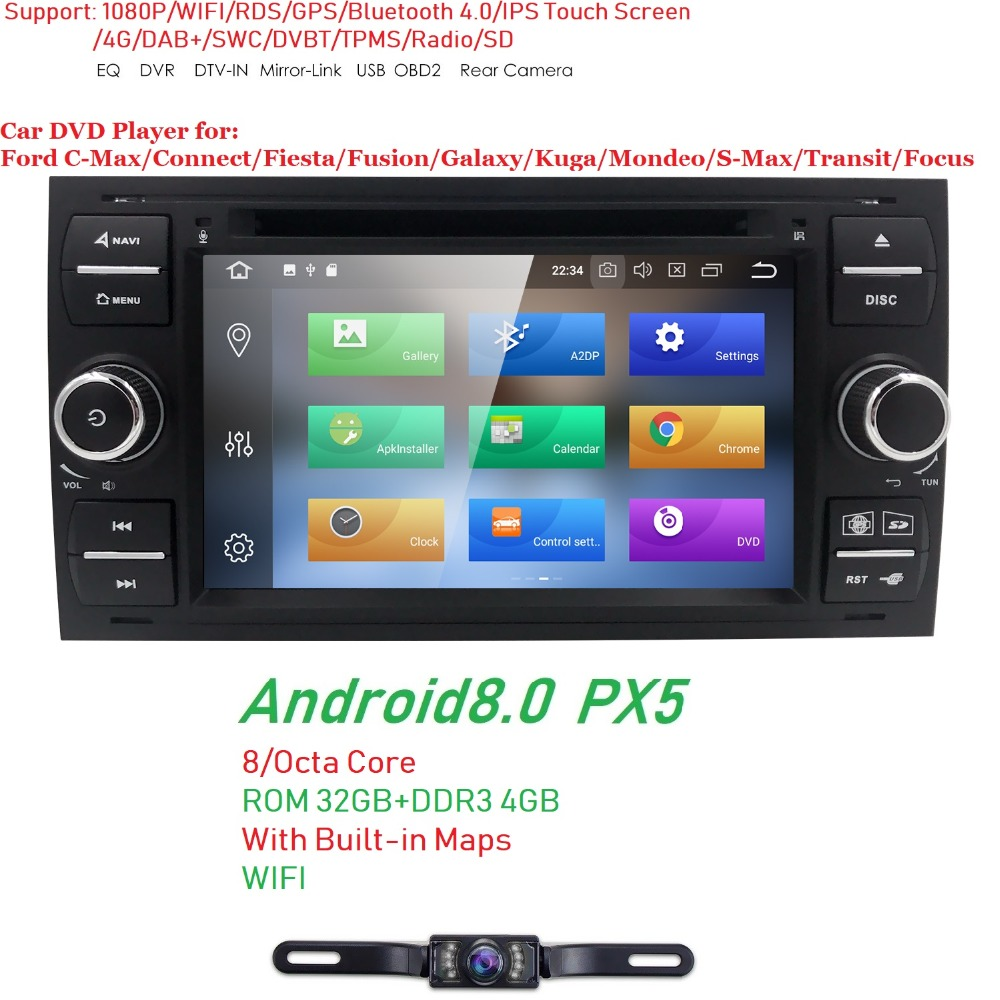 Pure 4+32 Android 8.0 Car DVD GPS Navi Player Stereo Radio Audio 4G For Ford Focus 2 Mondeo S C Max Fiesta Galaxy Connect Camera