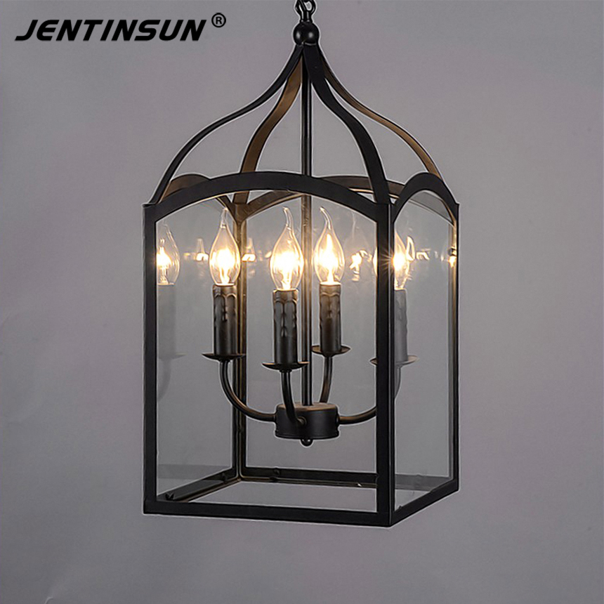 Northern Europe Glass Cage Pendant Light Loft Vintage Birdcage Pendant Lights Lamp Metal Glass Hanging Lamps For Coffee Shop Bar loft american edison vintage industry crystal glass box wall lamp cafe bar coffee shop hall store club