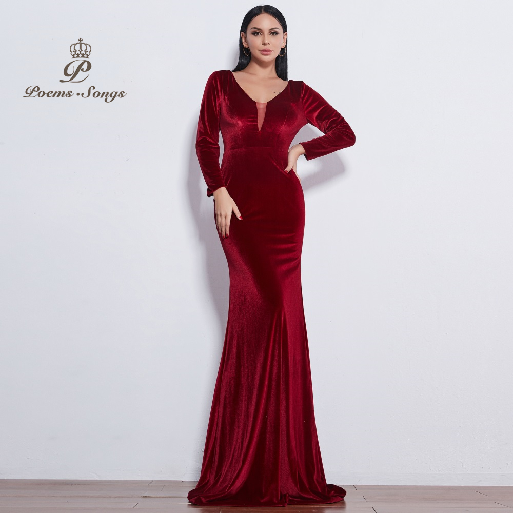 Poems Songs 2019 New style Attractive good-looking Fashion   Evening     Dress   prom gowns vestido de festa Formal Party   dress