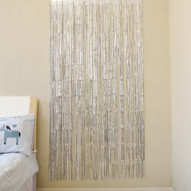 Online Shop 3978 Gold Red Blue Silver FushiaTinsel Shimmer Foil Door Curtain Tinsel Birthday Halloween Party Decoration