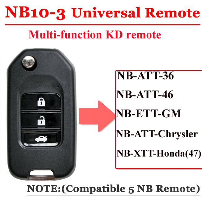 Free Shipping (1 Piece)NB10 Universal Multi-functional Kd Remote 3 Button NB Series Key For KD900 URG200 Remote Master