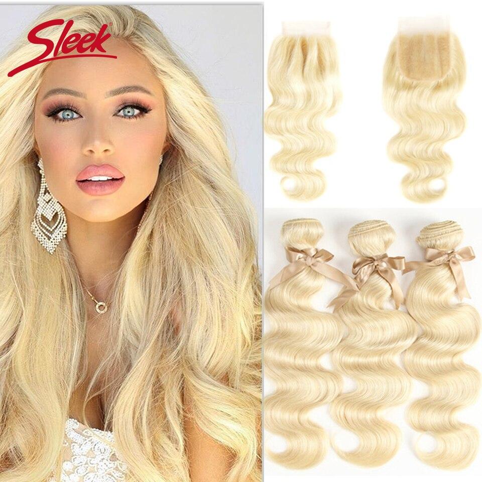 Sleek Mink Human Hair Blonde613 Bundles With Closure Brazilian Body Wave 3 4 Bundles With Closure