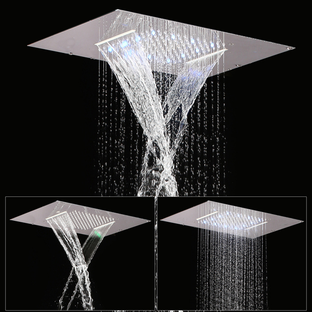 360 500mm Two Functions Retangular Rainfall Waterfall Recessed Ceiling Shower Led