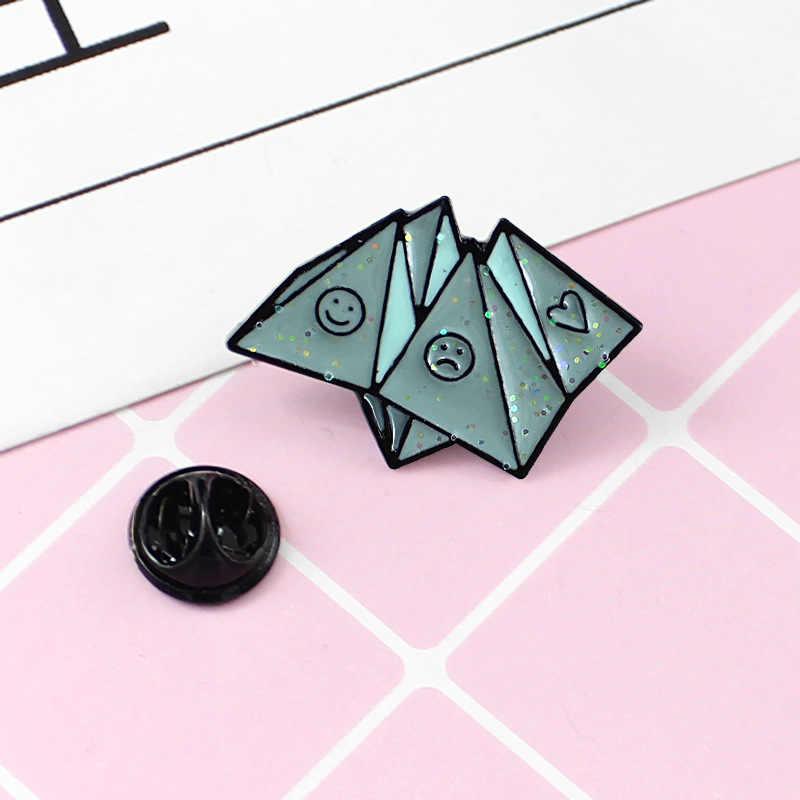 2018 Kreatif Biru Tersenyum Wajah Menangis Jantung origami Bros Alloy Dripping Enamel Pin Kemeja Fashion Wanita Anak Hadiah Perhiasan