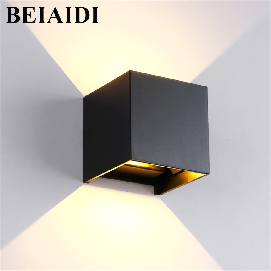 BEIAIDI Outdoor 6W 12W LED Adjustable Cube COB LED Wall Lamp Waterproof IP65 Modern Home Garden Patio Corridor Wall Sconce Light gd 6w 12w wall lamp ip65 adjustable surface mounted led wall light outdoor wall sconce cob high brightness up and down wall lamp