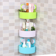 Lovely Bathroom Corner Storage Rack Organizer Shower Wall Shelf with Suction Cup hot search