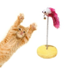Cat Scratch Board Mouse Ball Toy Plate Cat Sticks Toys Pet Frame Spring Bells Scratching Pad Posts Flying Disc Color Random LH8s