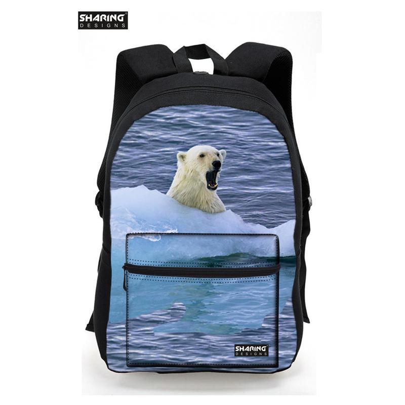 2017 Fashion Girls School Bags For Teenagers Red White polar bear Printing Canvas Women Backpack Mochila