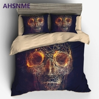 AHSNME Sci fi abstract skull cranium Bedding set Luxury Australia Europe King Size Cover Set set super soft 3D Printed bed Set
