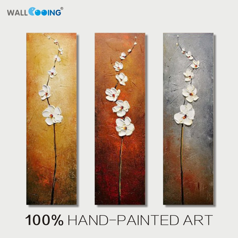 100 Hand Painted 3 Panel Abstract Vertical White Flowers