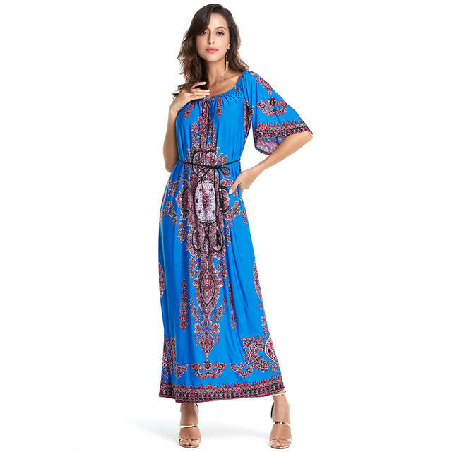 AIEnny Maxi Long Women Summer 2018 Loosen Casual Flare Sleeve Bohemian Dresses with