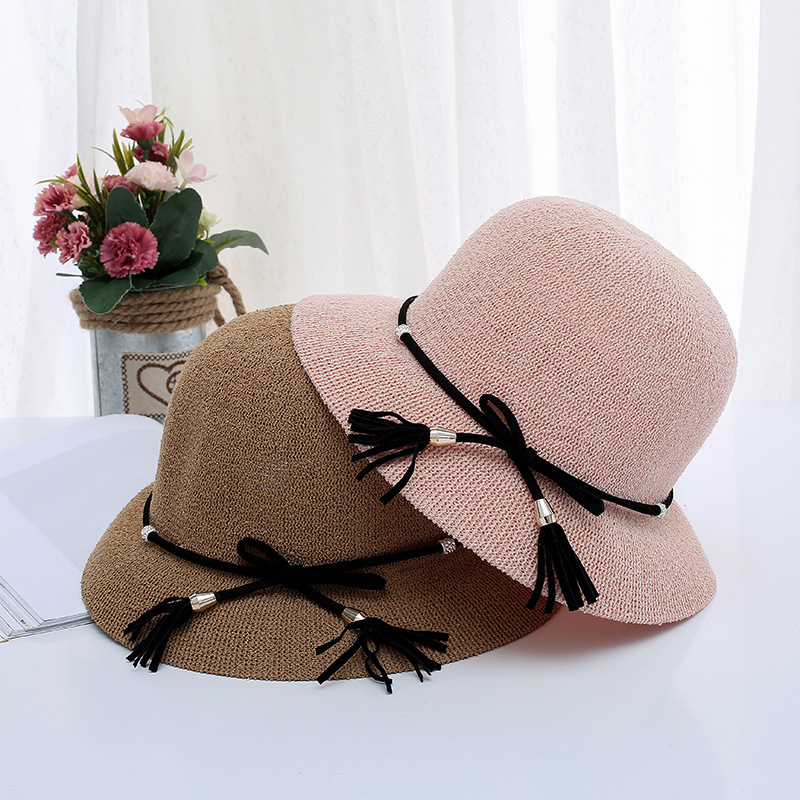 Summer Hat Women Sun Hats Beach Ladies Wide Brim Sunscreen Girls Travel Shade String Bow Foldable Sun Cap Drop Shipping