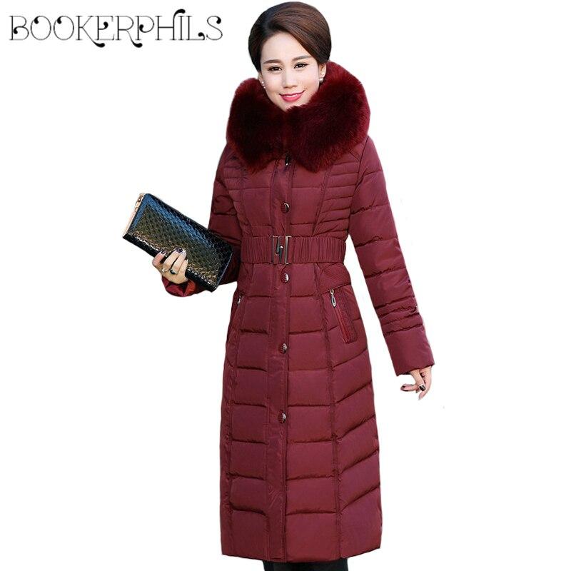 Осенне-зимняя куртка женская среднего возраста X-Long Плюс Размер толстый меховой воротник зимнее пальто женские парки с капюшоном хлопковая ...