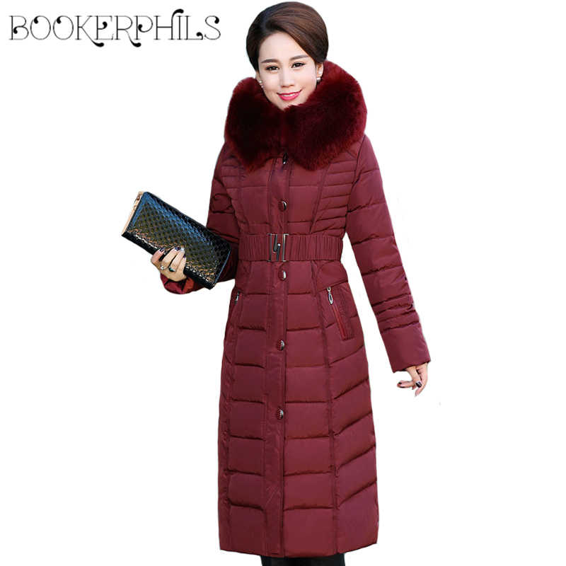 cd75629f3df Autumn Winter Jacket Women Middle-aged X-Long Plus Size Thick Fur Collar  Winter
