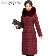 Autumn Winter Jacket Women Middle-aged X-Long Plus Size Thick Fur Collar Winter Coat Women Parkas Hooded Cotton Outerwear L-5XL