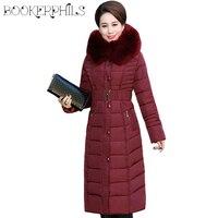 Autumn Winter Jacket Women Middle aged X Long Plus Size Thick Fur Collar Winter Coat Women Parkas Hooded Cotton Outerwear L 5XL
