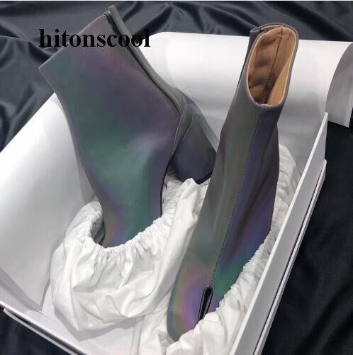 Mode As Bottines Automne Hiver Tabi Bottes Limitée Haute Talons Épais En Picture Femmes Fluorescence Cuir Véritable q6xOEBWgwg