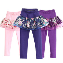 Kids Leggings Skirt 2 in 1 Pants Floral Lace Cake Skirt 2017