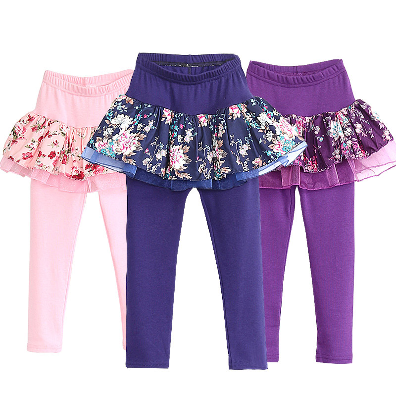 Kids Leggings Skirt 2 in 1   Pants   Floral Lace Cake Skirt 2017 Autumn Spring   capris   faux culottes Girls Leggins trousers 4-13Y