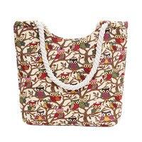 2018 New Fashion Women Canvas Handbags Owl Printed Shoulder Bags Big Capacity Shoulder Bags Casual Leisure