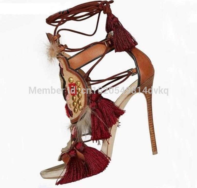 Sandalias de piel con flecos, botas de sandalia, embellecido con borlas, tacos altos para mujer, zapatos de tacón alto, Sandalias de tacón con cordones para el tobillo