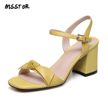 MSSTOR Cow Leather Women Sandals 2019 Sweet White Yellow Fashion Butterfly-knot Womens Summer Shoes Peep Toe Ladies High Heels