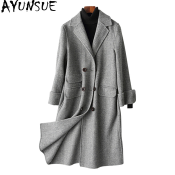 AYUNSUE New Fashion Sided Wool Coat Women Autumn WInter Female Jacket Long Double Breasted Wool Women's Coats 2019 88105 WYQ1501