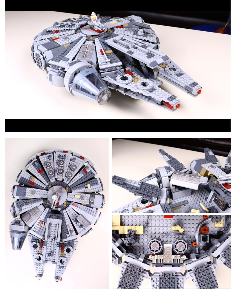 LEPIN 05007 Millennium Wars Falcon Star Ultimate Collector's Model Kit Blocks Bricks Toys for Children Gift compatible with lego color metal 3d puzzle star wars millennium falcon for adult 2016 new batman flying wing kylo ren shuttle 3d nano jigsaw puzzles