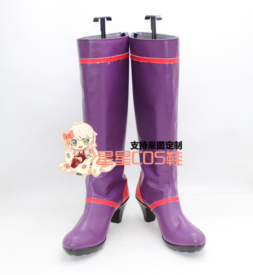 Re: Life in a Different World from Zero Roawaal L Mathers Purple Long Cosplay Shoes Boots X002