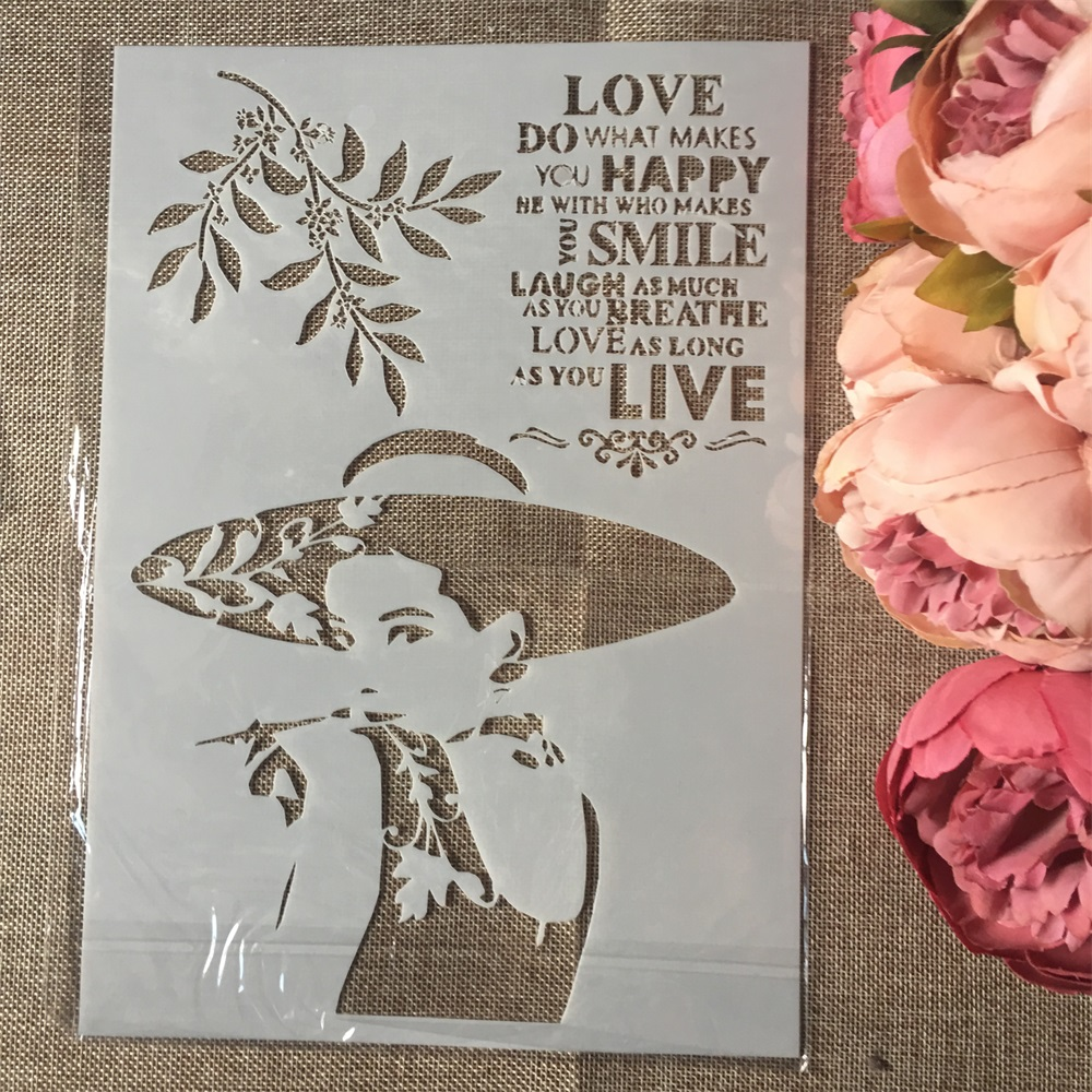 1Pcs A4 Hat Fashion Lady Words DIY Layering Stencils Wall Painting Scrapbook Coloring Embossing Album Decorative Paper  Template