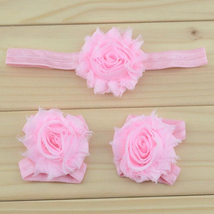 """Украшение для детей, повязка на голову, повязка для малышей цветы в стиле """"шэбби шик"""" повязка на голову босоножки ботинки и набор повязок для новорожденных; детская одежда для девочек аксессуары для волос - Цвет: pink"""