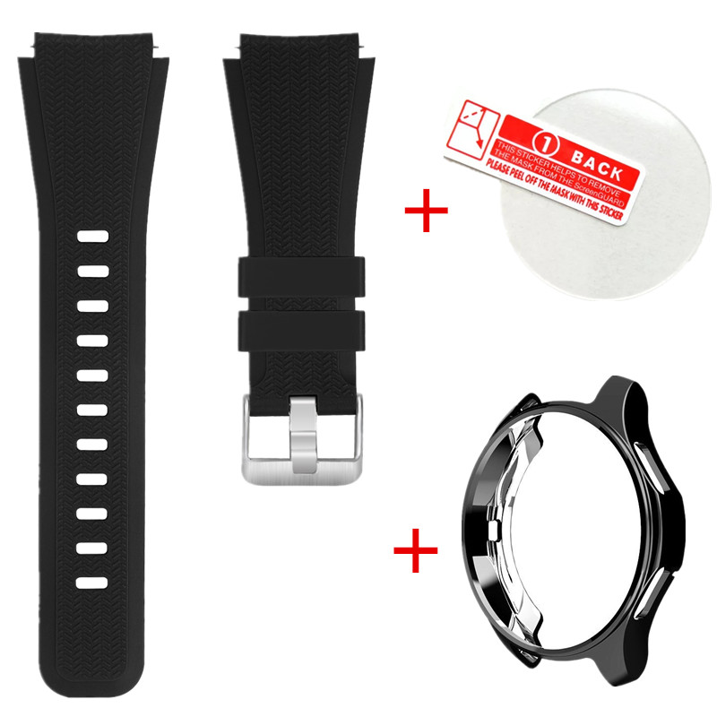 Genuine 3 in 1 for samsung Gear s3 Classic Frontier Silicone TPU Smart Watch with + Metal Case Glass screen protector