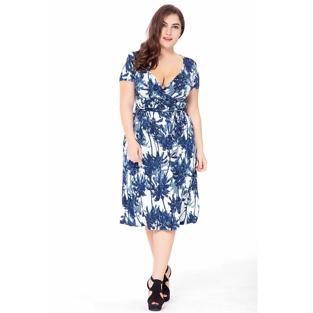 VITIANA 2017 Women Summer Boho Beach Dress Femme Blue Print Bohemian Knee-Length V Neck Clothing With Belt Plus Size 5XL 6XL